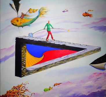 man-holding-bar-walking-on-triangular-shape-platform-painting